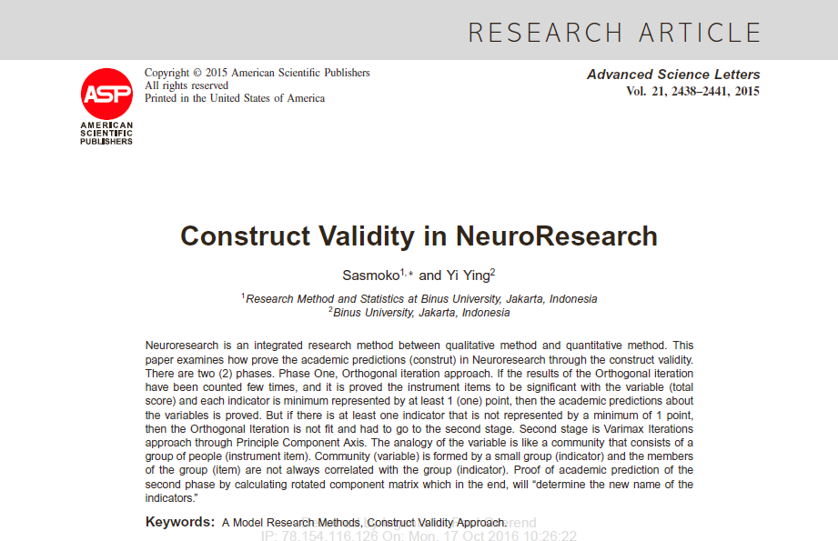 construct validity research paper Validity: external, internal, and construct essay - validity in research paradigm, validity and reliability are the most basic characteristic issues used in this paper examines the issue of validity research, comparing, and contrasting the characteristics of internal, external, and construct validity.