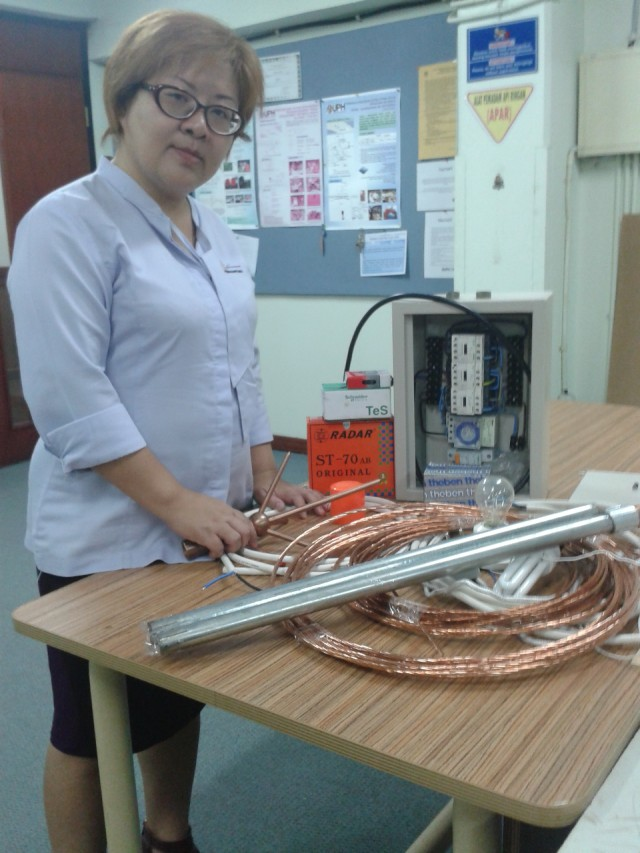 Preparation for establishing lightning post in Lumbanlobu village. The preparation was in UPH's Electronic Laboratory.